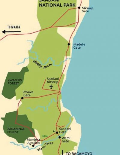 saadani national park map 1